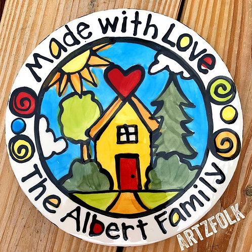 Handmade personalized happy house trivet by artzfolk