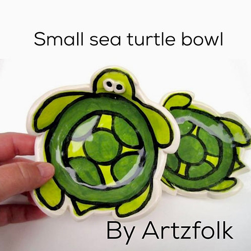 personalized handmade pottery happy sea turtle trinket bowl dish