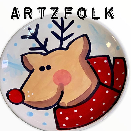 Reindeer holiday ceramic christmas plate personalized name by artzfolk