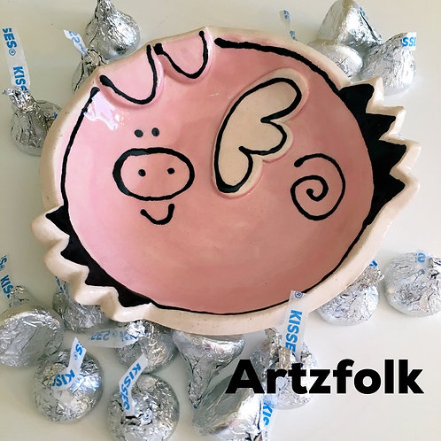 Flying Pink Pig bowl handmade pottery ring or trinket dish by artzfolk