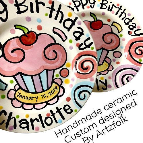 Ceramic Personalized Birthday Plate confetti party swirls