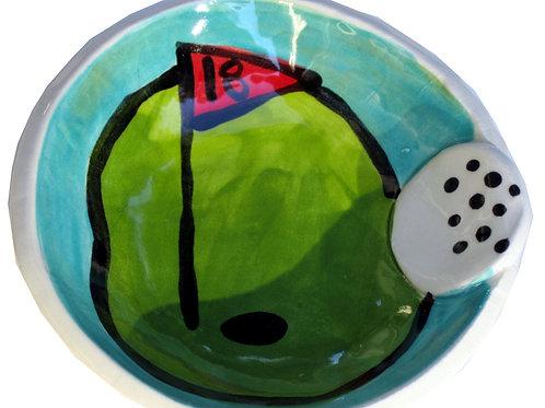 18th Hole Golf Day Handmade Pottery mini bowl By Artzfolk