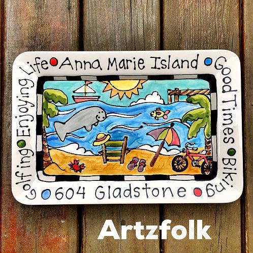 Custom Personalized theme handmade large Ceramic Serving Tray by Artzfolk