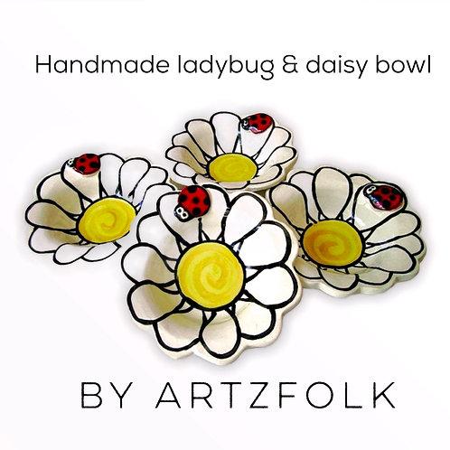 medium Handmade Pottery ladybug on flower art Bowl by Artzfolk