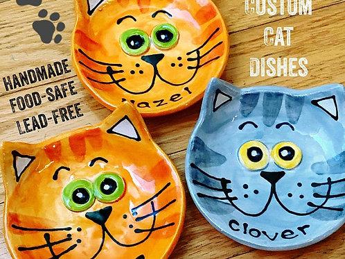 "Personalized Small 4"" cat dish handmade pottery"
