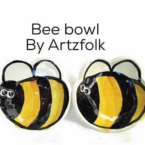 small Handmade Pottery Bumble Bee art Bowl by Artzfolk fun bee lover gift
