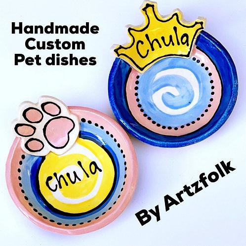 Custom personalized Set of 2 Mini handmade pottery cat bowls