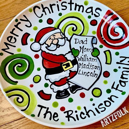 Cookies For Santa holiday ceramic christmas plate naught or nice list