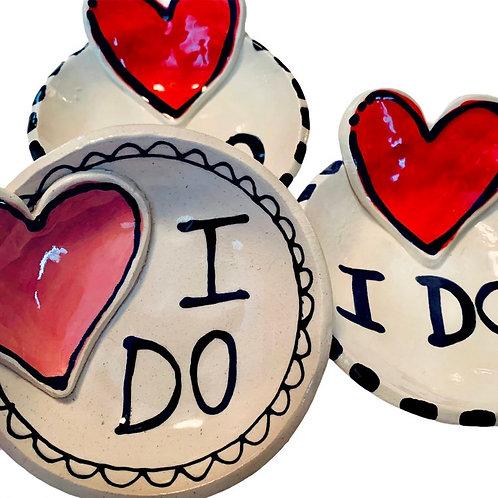 I Do heart ring dish handmade pottery by Artzfolk