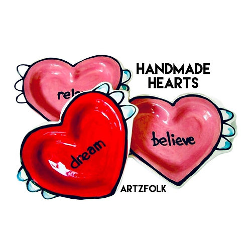 Flying Heart Handmade Pottery plate custom color and wording by Artzfolk