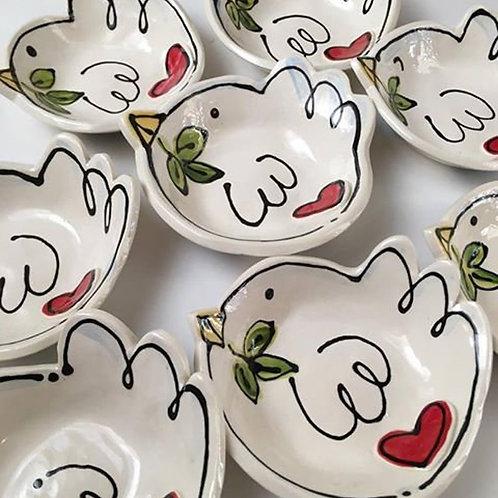 Custom Handmade Pottery personalized bird trinket dish by artzfolk