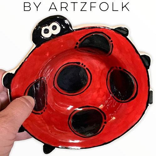 medium Handmade Pottery ladybug art Bowl by Artzfolk