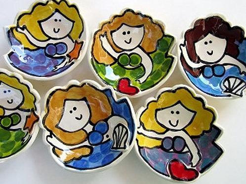 custom handmade personalized Mini mermaid soap dish pottery bowl handmade clay