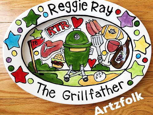 The Grillfather STORY ART Custom made traditions family name oval ceramic platte