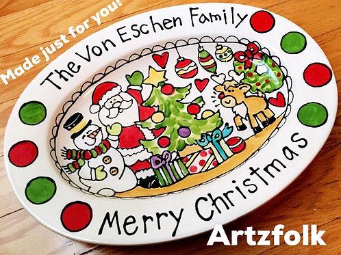 Polka Dot Custom traditions family name Christmas oval ceramic platter