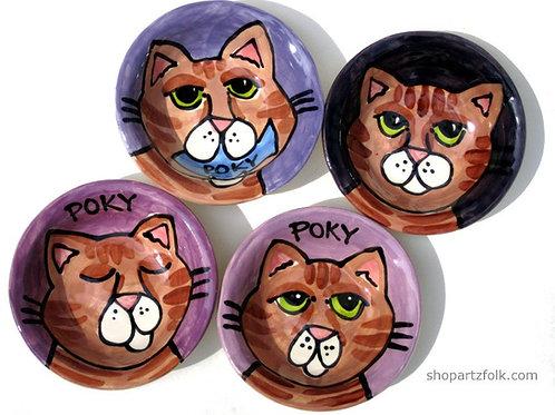 CUSTOM small Ceramic Personalized Queen Kitty Cat Dish Bowl portrait by Artzfolk