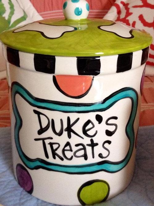 Bone and dots Custom Ceramic Treat Jar for dogs whimsical