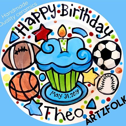 Birthday Cake Plate Personalized sport theme