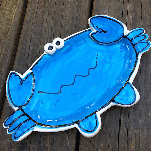 Oval Blue or red Crab Small Handmade Custom Pottery cracker Tray Plate