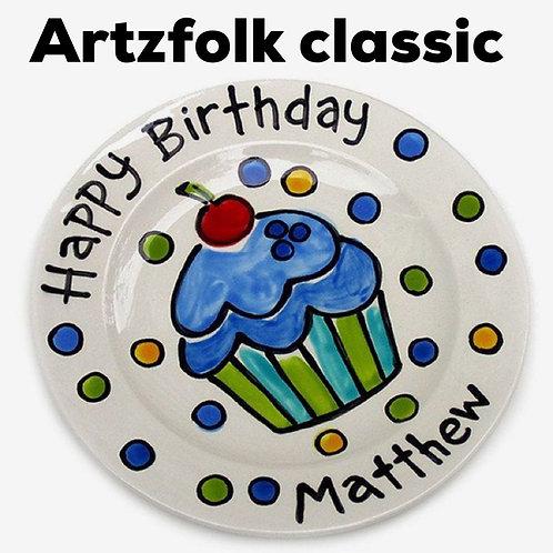 Personalized Birthday Plate Classic Style Ceramic handmade by Artzfolk