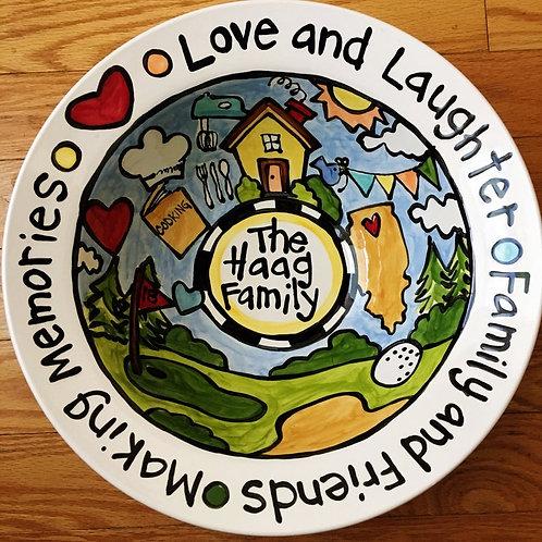 Custom made and Designed Story Art BIG serving bowl or large pasta dish wedding