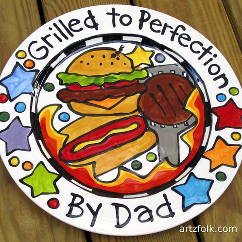 """Classic Grilled to Perfection CUSTOM 13"""" BBQ Family Platter Personalized"""