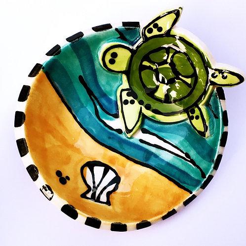 Sea Turtle Handmade original art Pottery mini bowl by Artzfolk