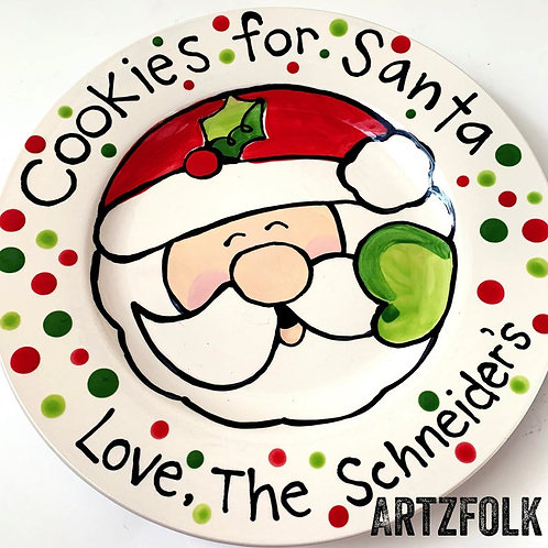 Cookies For Santa ceramic plate personalized gift