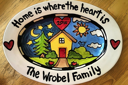 Personalized handmade new house ceramic serving tray home sweet home large