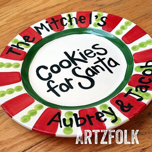 Artzfolk cookies for Santa personalized family ceramic plate