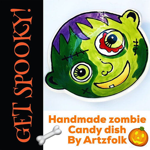 Medium handmade pottery original art zombie candy dish for Halloween