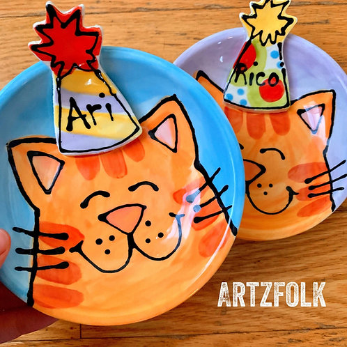 party cat CUSTOM handmade small Ceramic cat portrait