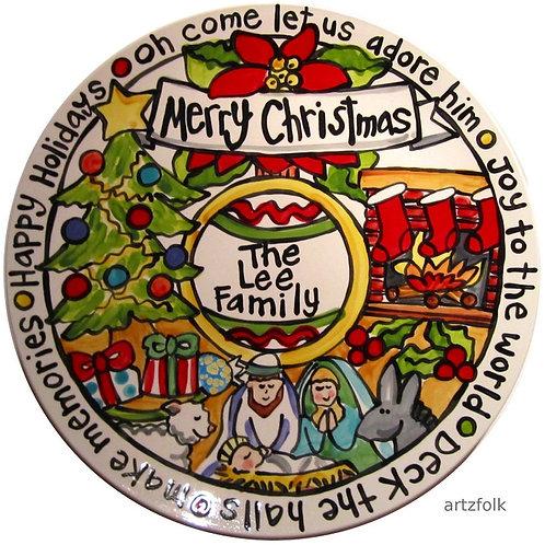 """Oh Holy Night Merry Christmas CUSTOM 15"""" Family Platter"""