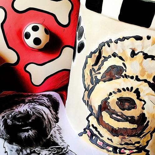 handmade Custom Pet Portrait Ceramic Treat