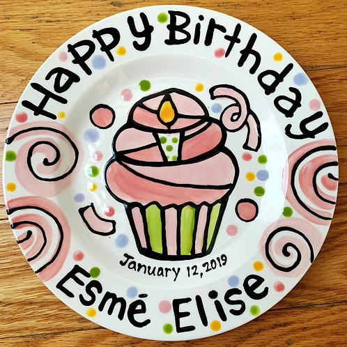 Happy Birthday cheer candle cupcake plate