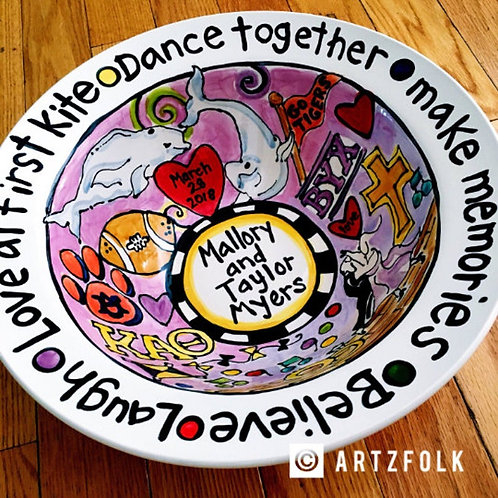 Custom Designed and Made just for you BIG personalized Ceramic Serving Bowl