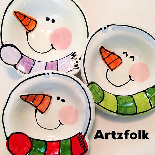 Handmade pottery snowman bowls