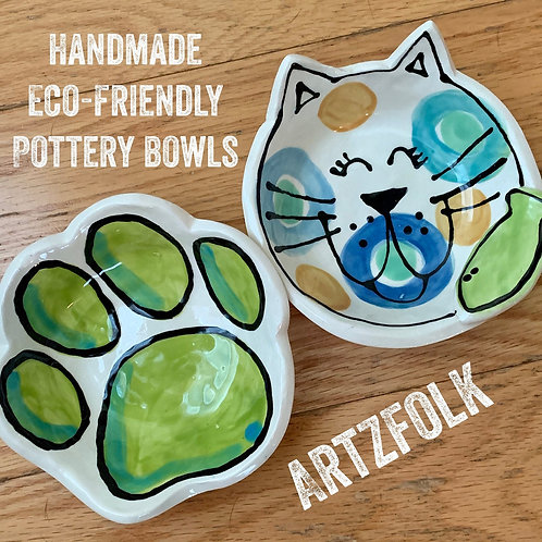 Custom set handmade pottery cat and paw print personalized small food and water