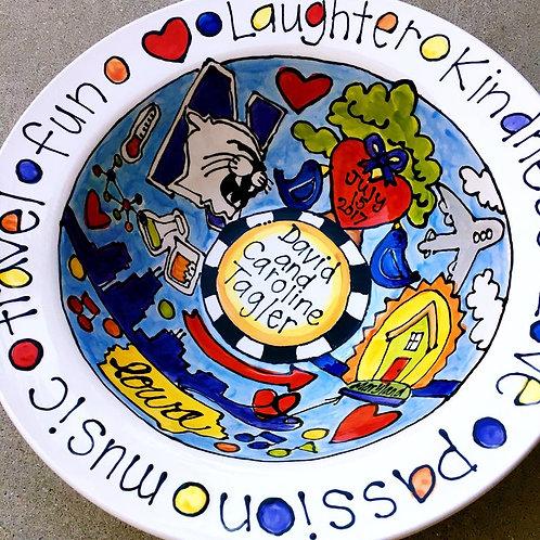 Custom Designed Story art BIG Ceramic popcorn Serving Bowl or big pasta dish