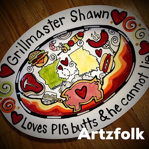 Custom traditions storyart large ceramic BBQ smoker family platter