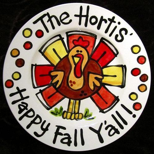 "CUSTOM handmade Family Gift Thanksgiving Large 10"" round turkey plate"