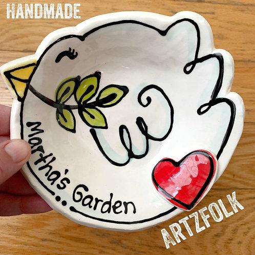 Custom Handmade Pottery personalized Peaceful white Dove Wedding Love Gift Bowl