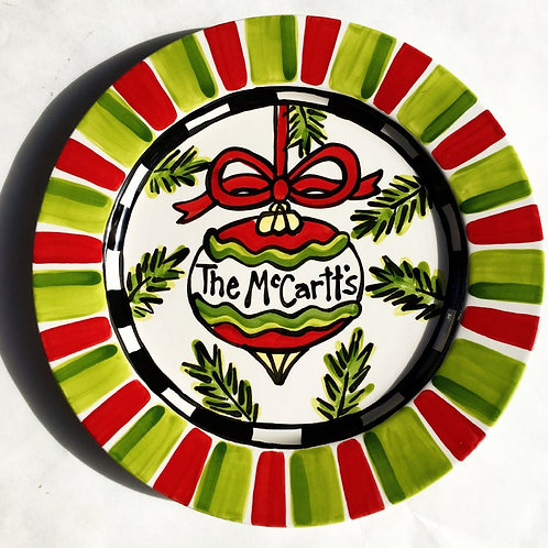 Family Christmas Personalized ornament platter