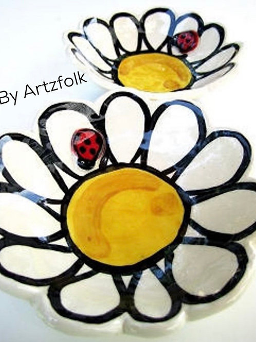 small Handmade Pottery ladybug and daisy art Bowl by Artzfolk fun art