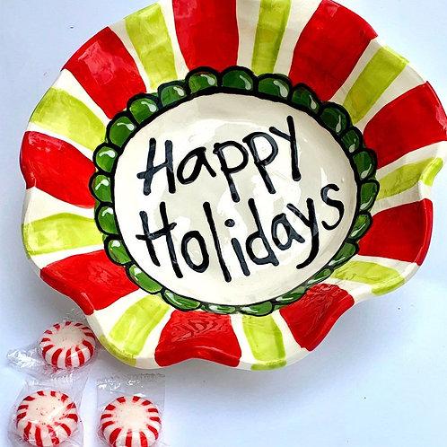 Wavy handmade pottery happy holidays bowl