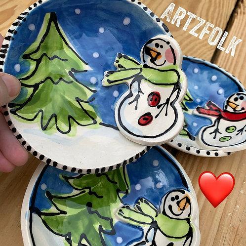 snowman handmade pottery trinket bowl