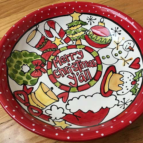 Merry Christmas Holiday Y'all Handmade Ceramic serving bowl dish
