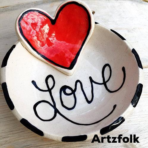 Love & Laughter heart Handmade original art Pottery mini bowl by Artzfolk