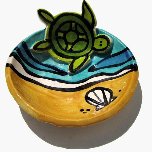 Sea Turtle Handmade original art Pottery mini bowl Candleholder trinket dish