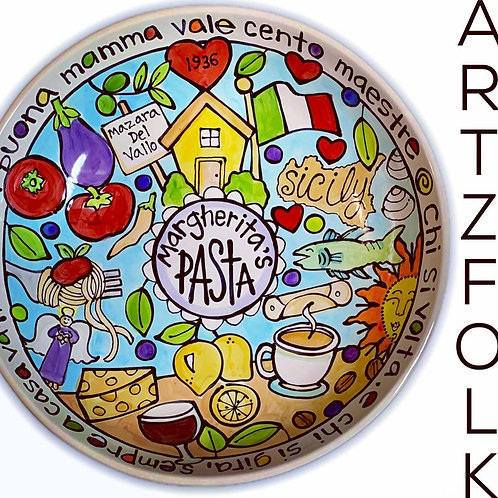 Big personalized ceramic pasta dish bowl serving custom made by Artzfolk